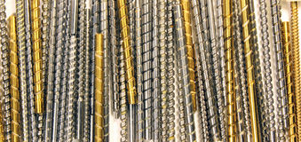 Greasy metal worm screws and shafts Stock Image