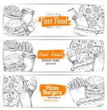 Greasy and unhealthy fast food banner sketch Royalty Free Stock Photo
