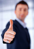 Great!. Close up portrait of a hand gesturing thumb up Royalty Free Stock Image