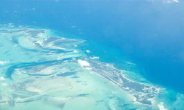 Great Abaco Island, Bahamas. Aerial View ovre the Bahamas.  Great Abaco Island is most prominent Stock Images