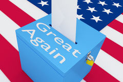 Great Again concept. 3D illustration of `Great Again` script on a ballot box, with US flag as a background Royalty Free Stock Photography