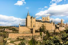 The great Alcazar of Segovia, one of the most interesting places in Spain stock photo