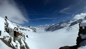 The Great Aletsch Glacier. Swiss Alps - The Great Aletsch Glacier seen from Jungfraujoch Royalty Free Stock Images
