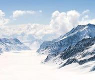 Great Aletsch Glacier Jungfrau Alps Switzerland. Panorama Scenic of Great Aletsch Glacier Jungfrau region,Part of Swiss Alps Alpine Snow Mountain Landscape at stock image