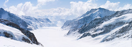 Great Aletsch Glacier Jungfrau Alps Switzerland. Panorama Scenic of Great Aletsch Glacier Jungfrau region,Part of Swiss Alps Alpine Snow Mountain Landscape at royalty free stock photography