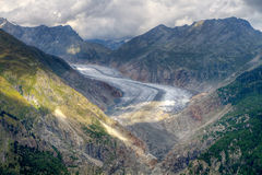 Great Aletsch Glacier valley Stock Images