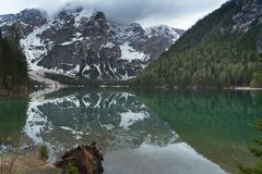 Great alpine lake Braies Pragser Wildsee. Magic and gorgeous scene. Popular tourist attraction. Location place Dolomiti, national park Fanes-Sennes-Braies royalty free stock photography