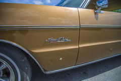 Great amcar, 1971 plymouth sport fury, detail by front fender Stock Photo