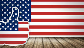 Great America big thumbs up and flag background Royalty Free Stock Photos