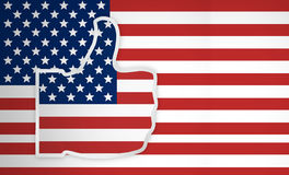 Great America big thumbs up and flag background 3d render. Graphic royalty free stock images