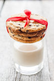Great American Cookies with chocolate and a glass of milk Stock Photography