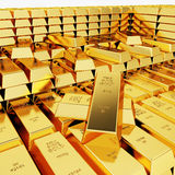 Great amount of gold bars. Lots of gold bars in the depot Royalty Free Stock Images