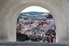 Great angle for Cesky Krumlov. Most exciting view from the top of Cesky Krumlov Stock Photo