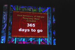 Great anniversary of 1000 years in 365 days to go. Photo taken at night on the giant screen, which takes place every day counts the days before the date of Royalty Free Stock Image