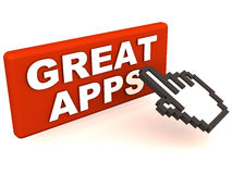 Great apps. Button in red, with a small hand icon trying to click to gain access, mobile and computer apps concepts Stock Images