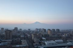 Great Ararat. Gorgeous view of the Mt. Ararat from the Armenian plateau. This photo is taken from the roof of the 18 floor building in Yerevan City, Armenia Royalty Free Stock Image