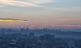 Great Ararat. Gorgeous view of the Mt. Ararat from the Armenian plateau. This photo is taken from the roof of the 18 floor building in Yerevan City, Armenia Stock Photos