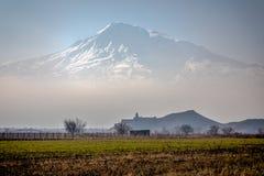 Great Ararat,  Khor Virap Monastery. The Khor Virap Armenian: Խոր Վիրապ, meaning `deep dungeon` is an Armenian monastery located in the Ararat plain in Royalty Free Stock Image