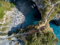 Great Arch, Aerial View, Arch Rock, Arco Magno and Beach, San Nicola Arcella, Cosenza Province, Calabria, Italy Royalty Free Stock Images
