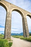 Great arch of aqueduct. Roman aqueduct at pamplona city in navarra spain Stock Image