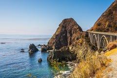Great arch bridge - viaduct. California highway number 1. Great arch bridge - viaduct runs along the Pacific coast. USA Stock Photo