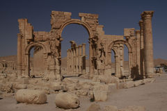 Great Arch of Palmyra. Ruins of Palmyra in Syria Royalty Free Stock Photo
