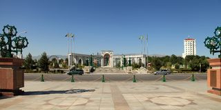 The great arch in the square. Ashkhabad. Turkmenistan. The great arch in the square. Ashkhabad. Turkmenistan royalty free stock photo