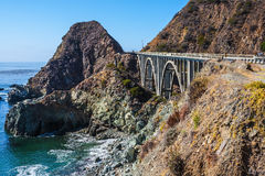 Great arch viaduct. Runs along the Pacific coast. California highway number 1. USA Royalty Free Stock Photography