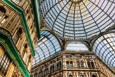 Great Architecture in Naples - Shopping Mall Galleria Umberto, Italy. NAPLES, ITALY-MARCH 23, 2018: Galleria Umberto I is a public shopping gallery. It is Royalty Free Stock Image