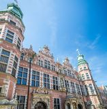 Great Armory in Gdansk, Poland. Great Armory or Academy of Fine Arts. Amazing facade and towers with spires in old historical town centre, Gdansk, Poland royalty free stock photo
