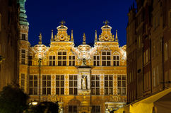Great Armoury in Gdansk at night Royalty Free Stock Photos