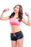Great athlete with pink dumbbells Stock Photos