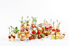 Great attractive set of canapes with vegetables, cheese, fruits, Stock Images
