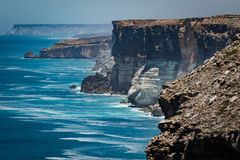 The Great Australian Bight on the Edge of the Nullarbor Plain. Whales, sea lions, dolphins and seals can often be seen feeding and frolicking at the bottom of stock photo