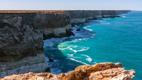 The Great Australian Bight - South Australia. The Great Australian Bight as seen from the edge of Australia. A view point in South Australia along the Nullarbor stock images
