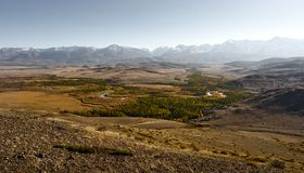 Great landscape of Altay mountains and Kurai steppe royalty free stock images