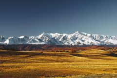 Great landscape of Altay mountains and Kurai steppe stock photo
