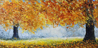 Great autumn trees. Original oil painting great autumn trees on canvas. Impasto artwork. Impressionism art Royalty Free Stock Photo