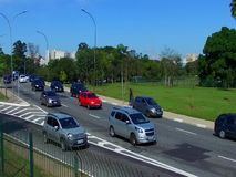 Great avenue, big city and heavy traffic stock video footage
