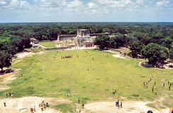 Great Ball Court and Temple of the Jaguars, Chichen Itza, Mexico.  Royalty Free Stock Images