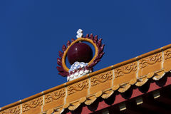 Great ball of fire. A great ball of fire on top of a Chinese traditional structure with blue sky Royalty Free Stock Image