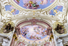 Great baroque interiors. In old historic abbey, Austria Royalty Free Stock Images
