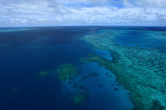 Great Barrier Reef. Bird's eye view of Great Barrier Reef from Helicopter stock image