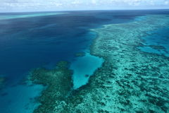 Great Barrier Reef. Bird's eye view of Great Barrier Reef from Helicopter royalty free stock image