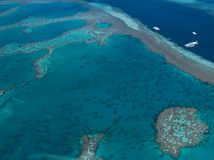 Great Barrier Reef. Aerial shot of Great Barrier Reef, Whitsunday Islands, Australia royalty free stock photography