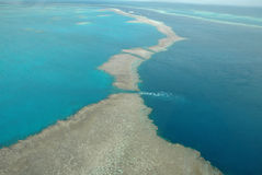 Great Barrier Reef. Image taken of the Great Barrier Reef from a helicopter stock photography