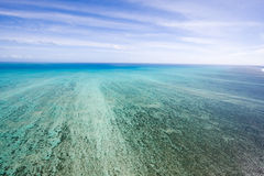 Great Barrier Reef from above. Flying over Great Barrier Reaf by helicopter Royalty Free Stock Photos