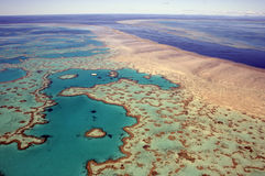 Great Barrier Reef, Australia. Aerial view of Heart Reef in the Great Barrier Reef, far north Queensland, Australia Stock Image