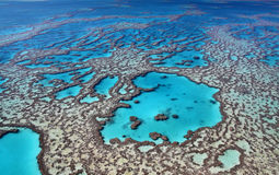 Great Barrier Reef colours. Aerial view of the magnificent Great Barrier Reef with its crystal clear waters and tropical islands. A romantic world heritage site stock images
