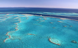 Great Barrier Reef islands. Aerial view over the amazing tropical Great Barrier Reef - one of the 7 wonders of the world stock image